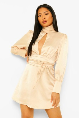 boohoo Petite Satin High Neck Backless Mini Dress