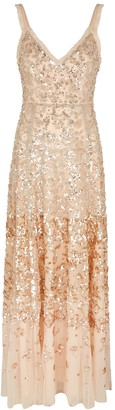Needle & Thread Patchwork sequin-embellished tulle gown
