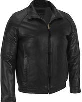 Mens Black Leather Bomber Jacket - ShopStyle