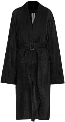 Rick Owens Mountain belted leather coat