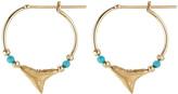 Aurelie Bidermann Fine Jewelry Shark 18kt Yellow Gold Earrings with Turquoise