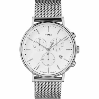 Timex Men's Fairfield Chrono 41mm Watch Silver-Tone & White with Stainless Steel Mesh Band