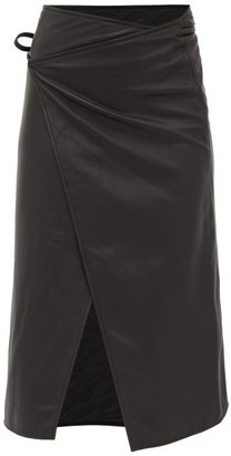 Vetements Logo-embossed Leather Midi Wrap Skirt - Womens - Black