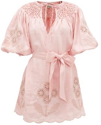 Innika Choo Smocked Broderie-anglaise Linen Dress - Womens - Light Pink