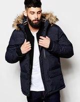 Schott Parka With 4 Pockets & Faux Fur Trim - Navy