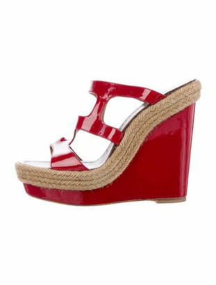 Christian Louboutin Patent Leather Espadrilles Red