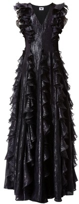 Diana Arno Elisabeth Black Gown With Ruffles