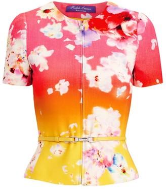 Ralph Lauren Azalea Floral Ombre Short-Sleeve Jacket