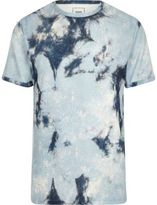 River Island Mens Blue tie dye towel slim fit T-shirt