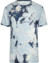 River Island Mens Blue tie dye towel slim fit T-shirt