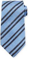 Kiton Chambray Striped Silk Tie, Light Blue