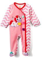 Taggies Pink & White Chevron Unicorn Footie - Infant