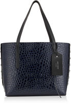 Jimmy Choo TWIST EAST WEST Navy Mock Croc and Black Grainy Leather Tote Bag