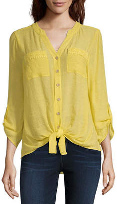 Alyx Womens Y Neck 3/4 Sleeve Blouse