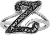 Black Diamond Sterling Silver 1/4-ct. T.W. Initial Ring