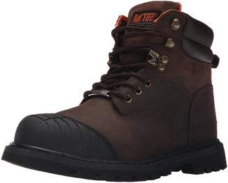 """AdTec Mens 6"""" Work Boots with Steel Toe Slip Resistant Leather Construction Boots"""