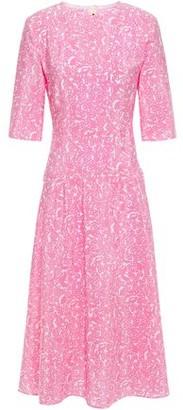 Marni Lylee Pleated Printed Silk-crepe Midi Dress