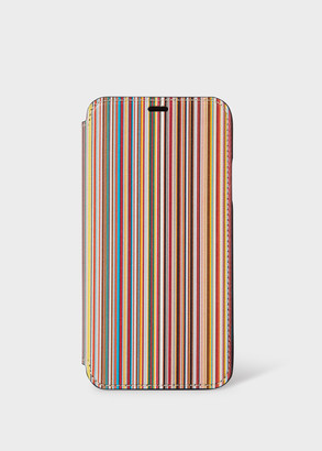 'Signature Stripe' Leather iPhone X Wallet Case