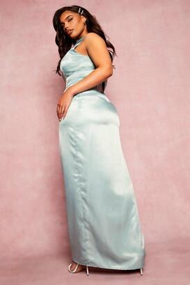 boohoo Plus Bridesmaid Slash Neck Maxi Dress