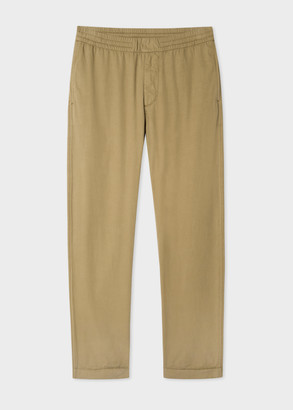 Paul Smith Men's Khaki Cotton Chinos With Elasticated Waistband