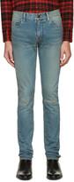 Saint Laurent Blue Original Low Waisted Knee Patch Skinny Jeans