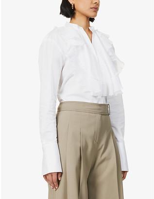 Victoria Victoria Beckham Ruffle-trim cotton-poplin shirt