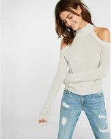 Express cutaway cold shoulder mock neck sweater