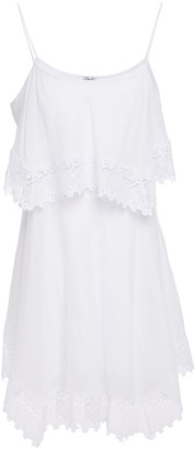 Charo Ruiz Ibiza Layered Crocheted Lace-trimmed Cotton-blend Voile Mini Dress