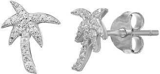 PRIMROSE Sterling Silver Cubic Zirconia Accent Palm Tree Stud Earrings