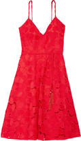 Badgley Mischka Belted guipure lace dress