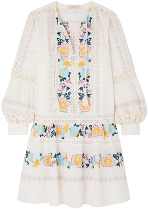 Tory Burch Boho Crochet-trimmed Embroidered Swiss-dot Cotton Mini Dress