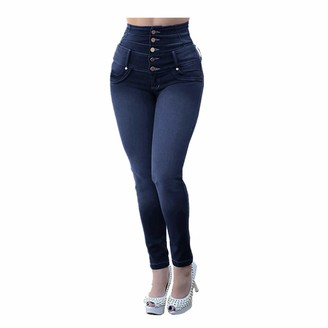 Canifon Women Casual Small Feet Cropped Elastic Jeans Button Loose Plus Size Hole Denim Pants