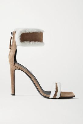 Giuseppe Zanotti Kanda Shearling-trimmed Suede Sandals - Tan