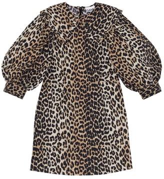 Ganni Leopard Print Silk-Linen Shift Dress