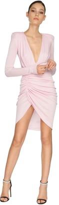 Alexandre Vauthier Draped Rib Jersey Lame Mini Dress