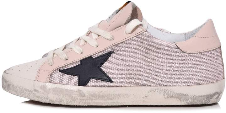 Golden Goose Superstar Sneakers in Pink Net/Navy Star