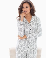 Soma Intimates Long Sleeve Notch Collar Pajama Top Chic Scroll Ivory