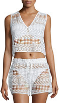 Milly Crocheted V-Neck Coverup Top, White