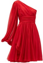 Giambattista Valli One-shoulder Silk-georgette Mini Dress - Womens - Red
