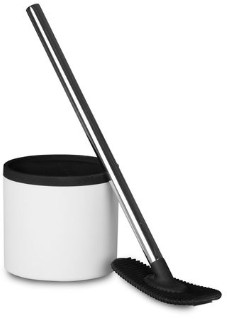 Ro & De Rode - Unique Designer Toilet Brush Cleaner With Tough Silicon Head In White Black Wall Mounted - White/Black