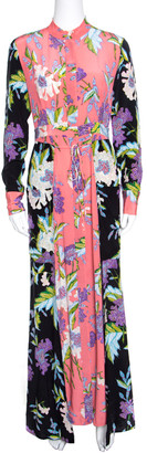 Diane von Furstenberg Multicolor Floral Printed Silk Long Sleeve Maxi Shirt Dress S