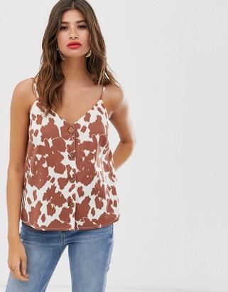 Asos Design DESIGN button through linen cami in cow print-Multi