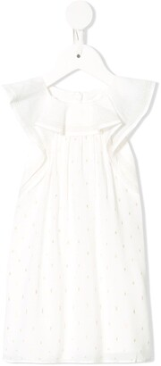 Chloé Kids Ruffle Detail Metallic Stitch Dress
