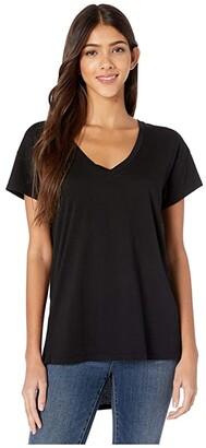 bobi Los Angeles V-Neck High-Low Tee Lightweight Jersey (Black) Women's Clothing