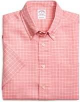 Brooks Brothers Regular Fit Ground Check Short-Sleeve Linen Sport Shirt