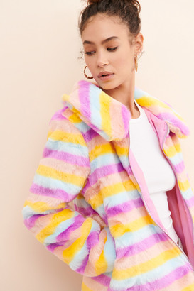 Daisy Street Rainbow Stripe Faux Fur Jacket