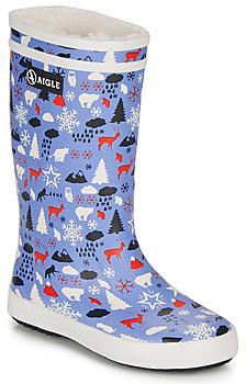 Aigle LOLLY POP PRINT FUR girls's Wellington Boots in Blue