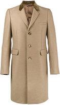 Alexander McQueen Camel Single Breasted Coat with Velvet Collar