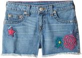 True Religion Bobby Patched Raw Edge Shorts in Sail Away Girl's Shorts