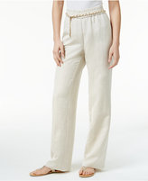 JM Collection Petite Linen-Blend Pull-On Pants with Chain Belt, Only at Macy's